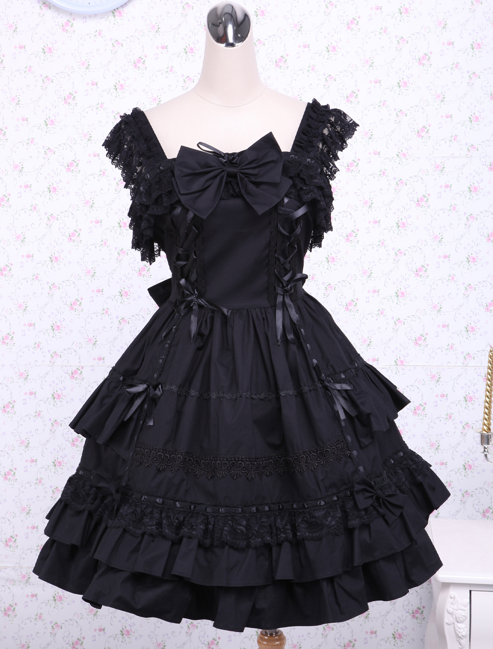 Buy Gothic Lolita Dress JSK Black Ruffles Bow Lace Trim Lolita Jumper Skirt for $79.99 in Milanoo store