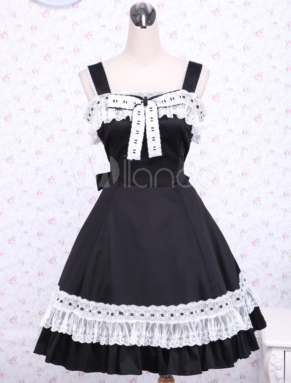 Buy Cotton Black Loltia Jumper Skirt White Lace Trim Bow for $75.99 in Milanoo store
