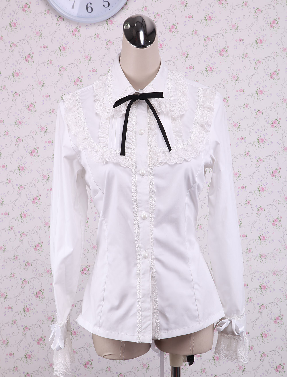 Buy White Cotton Lolita Blouse Long Sleeves Lace Trim Turn-down Collar Black Bow for $43.99 in Milanoo store