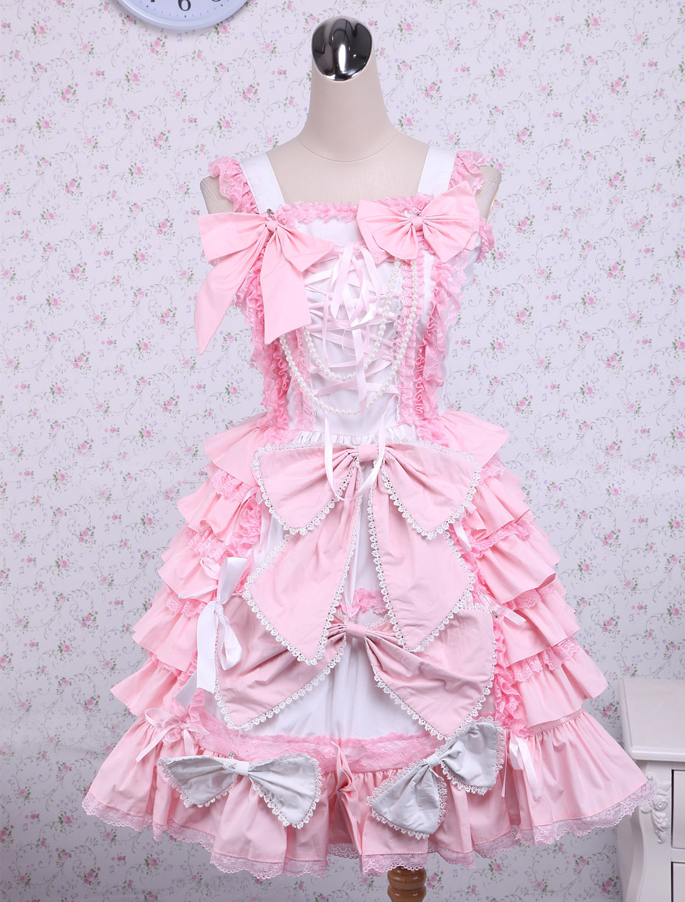 Buy Sweet Pink Cotton Loltia Jumper Dress Bows Layers Ruffles for $84.59 in Milanoo store
