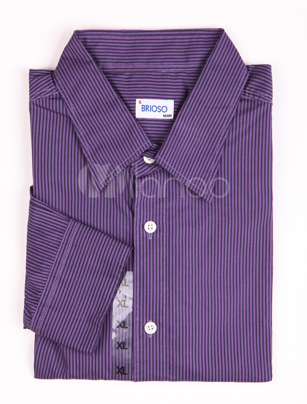 Buy Casual Purple 100% Cotton Mens Long Sleeves Shirt for $13.49 in Milanoo store