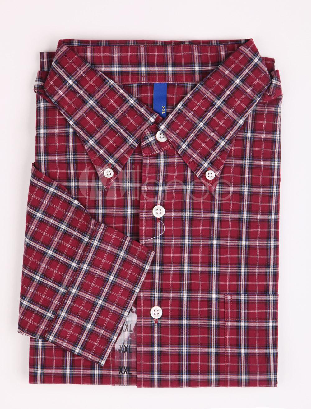 Camisas rojas de algodón a cuadros - Milanoo.com