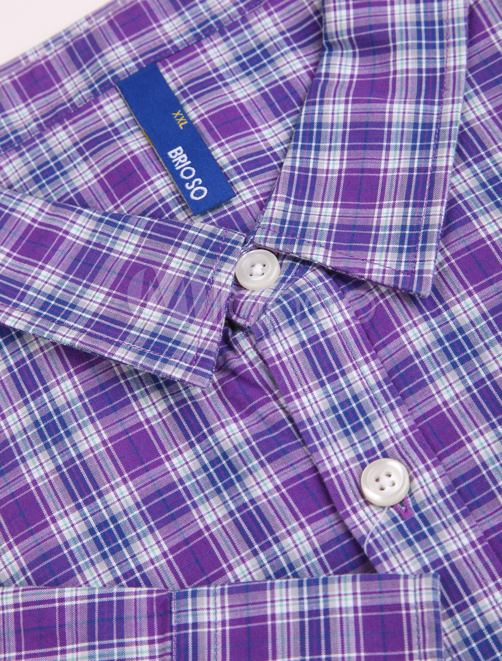 Handsome Purple Check Pattern 100% Cotton Long Sleeves Mens Casual Shirt