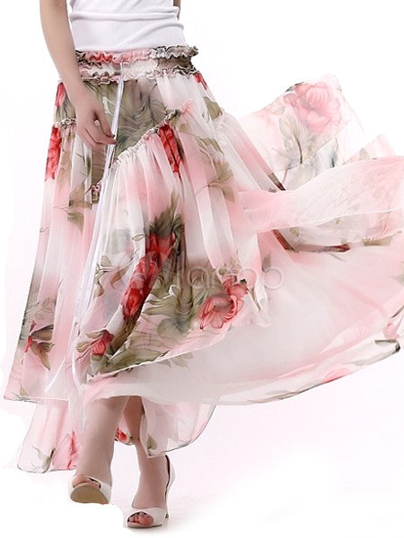 Watermelon Red Floral Chiffon Womens Long Skirt