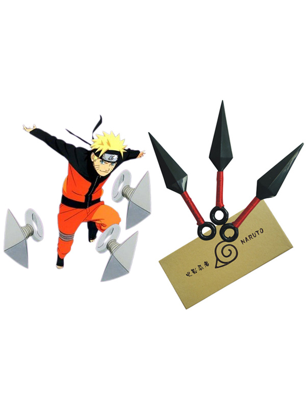Naruto Ninja Kunai Three Knife Set Halloween Cosplay Weapon