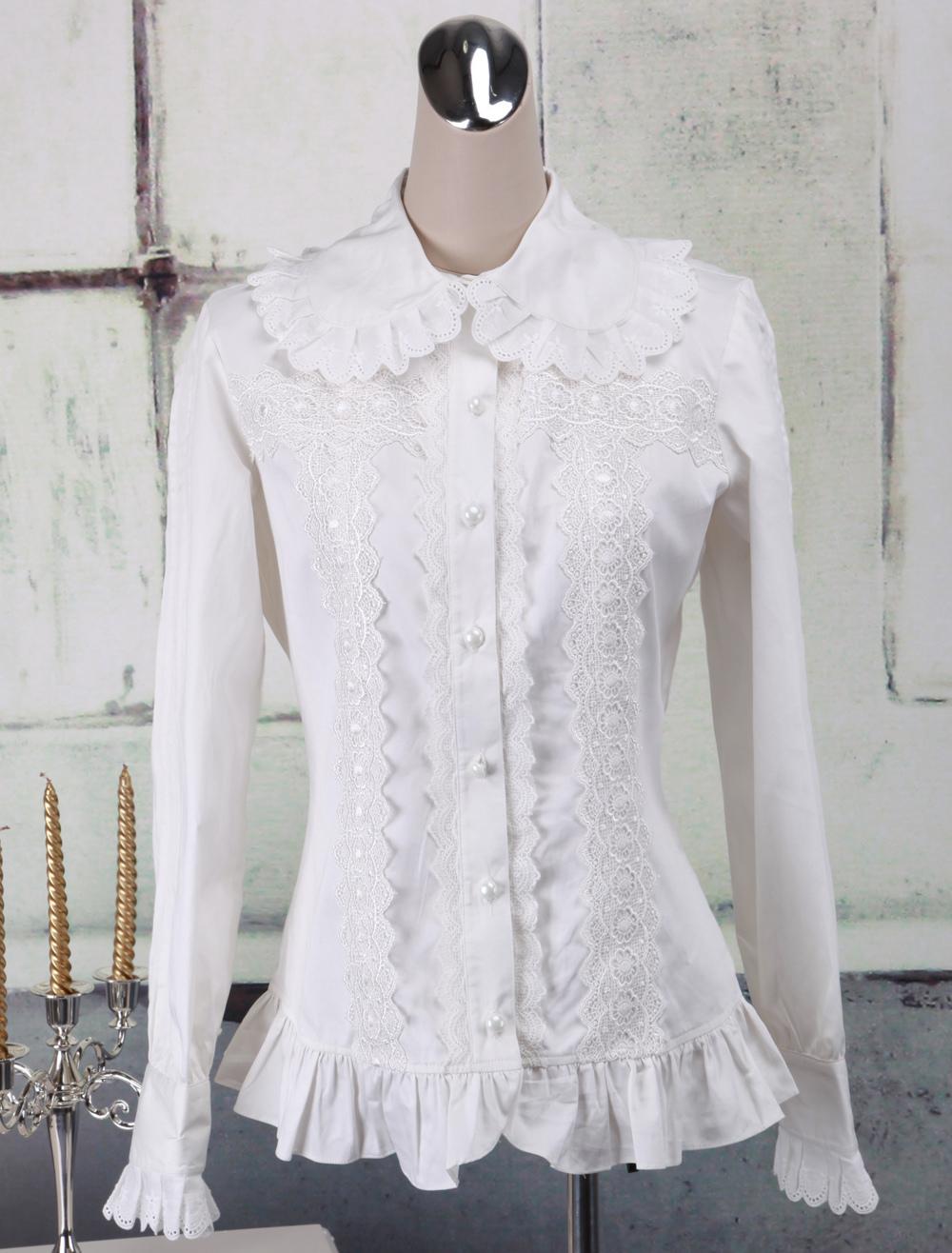 Sweet White Cotton Lolita Blouse Long Sleeves Ruffles Lace Trim Turn-down Collar