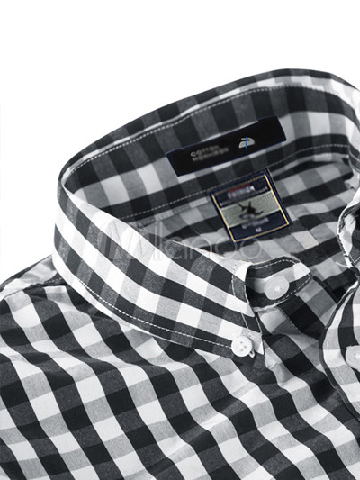 Black white plaid pattern long sleeves 100 cotton mens for Black and white checker shirt