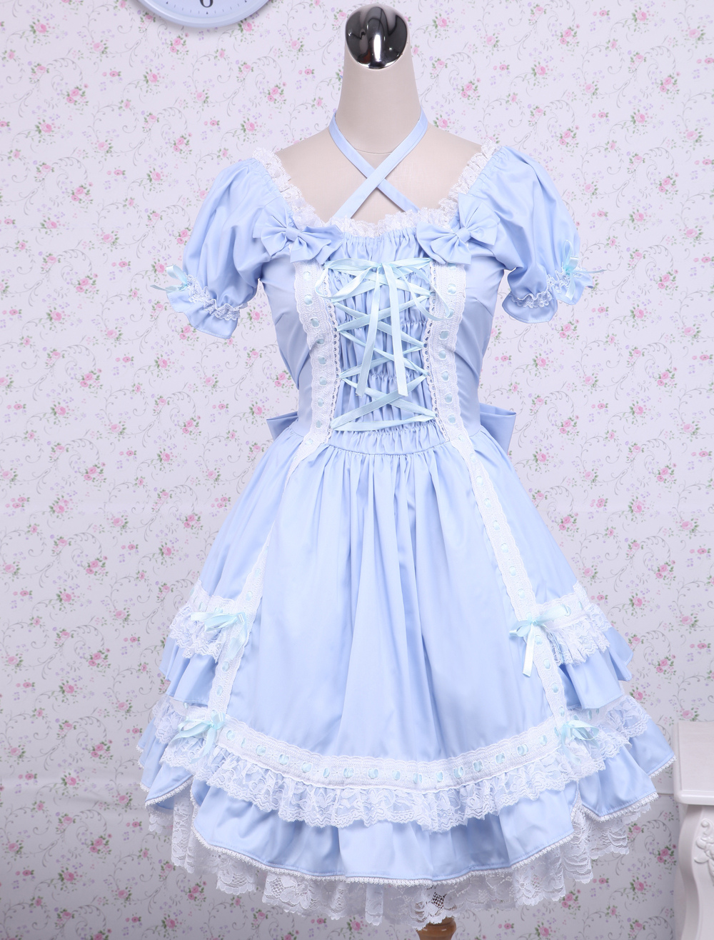 Buy Cotton Blue Short Sleeves Bow Lace Cotton Classic Lolita Dress for $71.99 in Milanoo store
