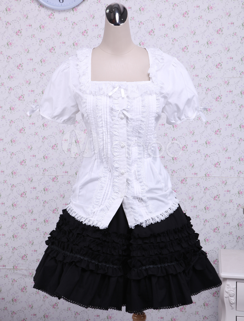 Buy Cotton White Lolita Blouse And Black Lace Classic Lolita Skirt for $79.99 in Milanoo store