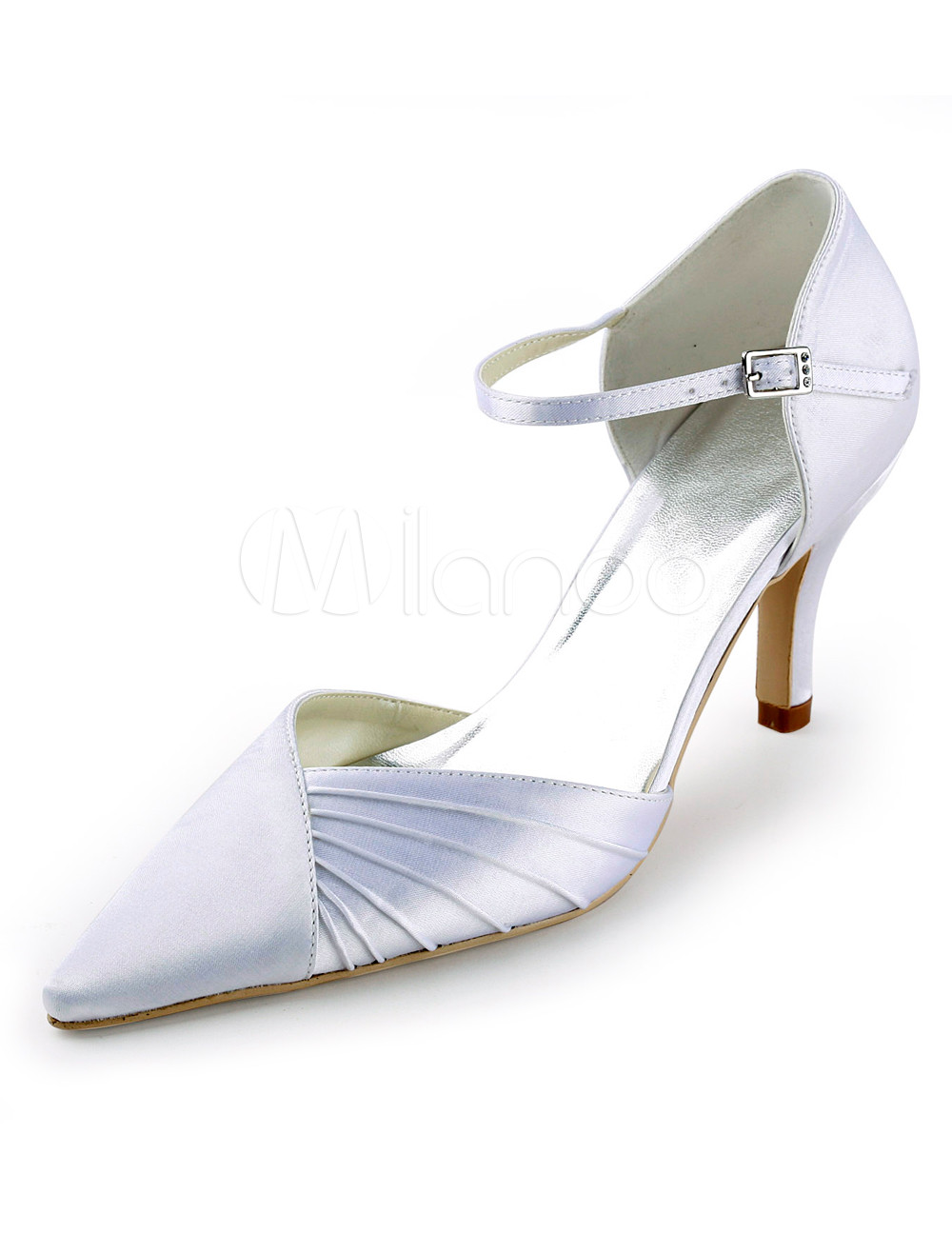 Grace White Pleated Satin Pointed Toe Wedding Shoes