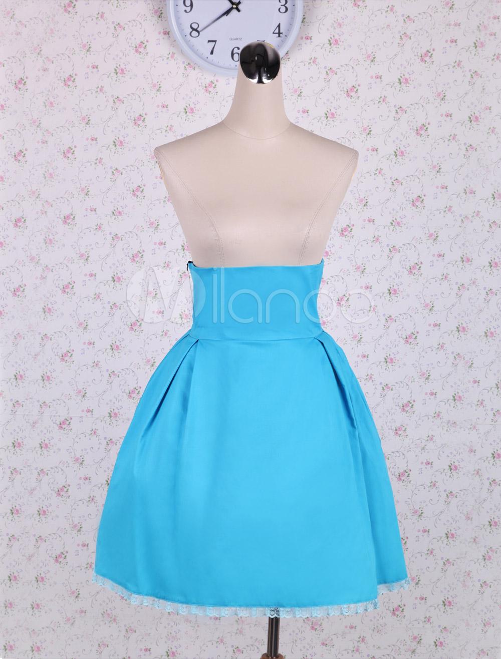 Simple Light Blue Pleated Cotton Lolita Skirt - Milanoo.com