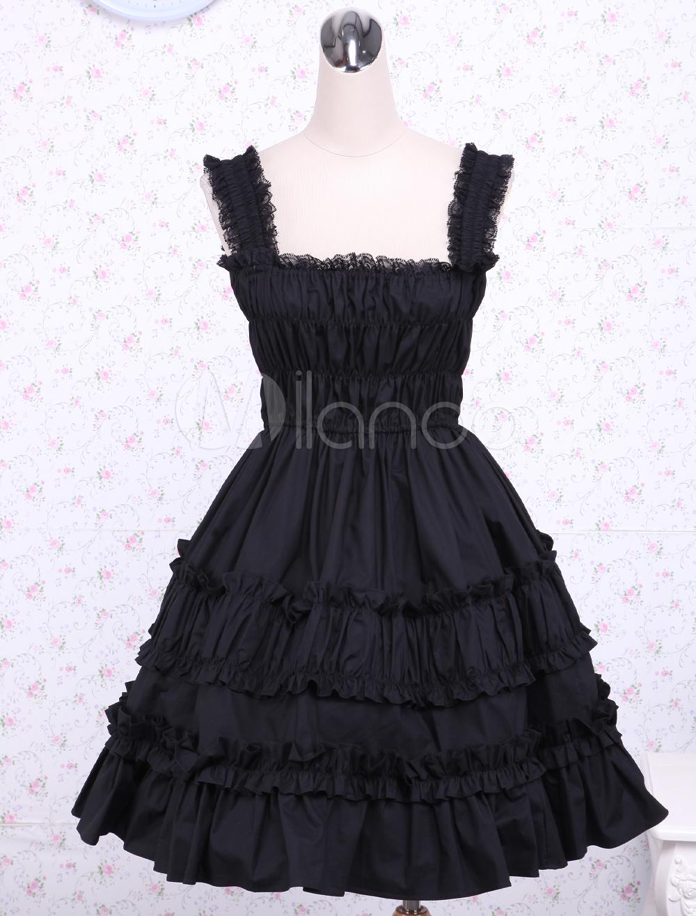Buy Cotton Black Lace Ruffles Classic Lolita Dress for $79.99 in Milanoo store
