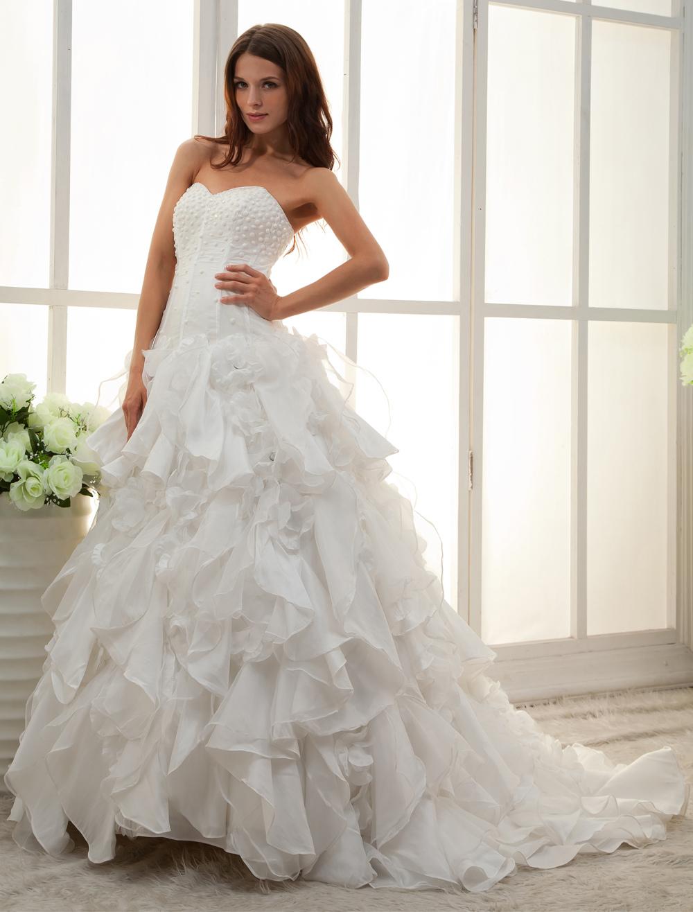 White Sweetheart Strapless A-line Beading Bridal Wedding Dress