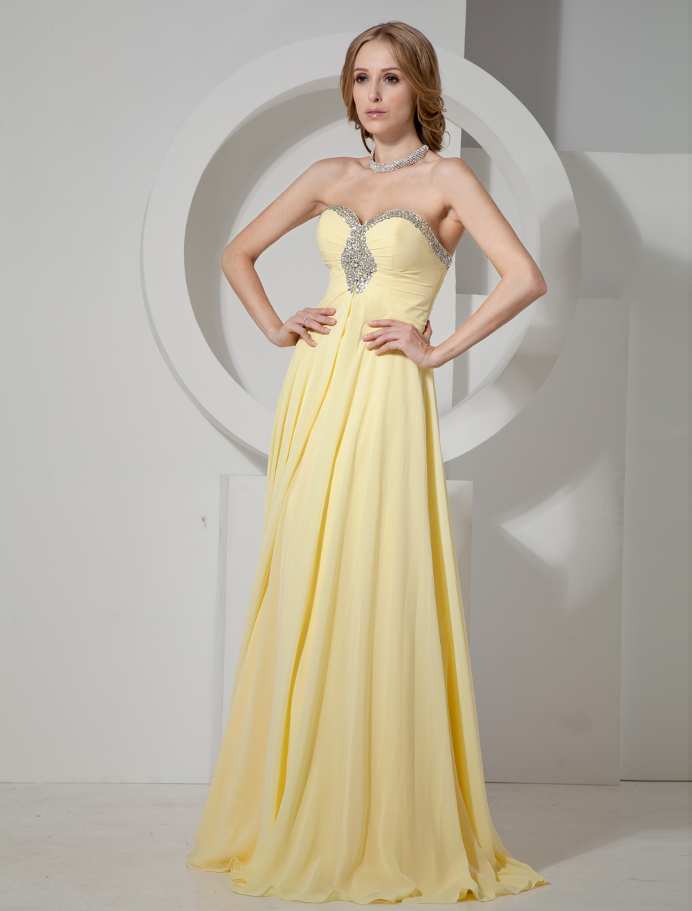 Daffodil Strapless Sweetheart Rhinestones Chiffon Women's Prom Dress