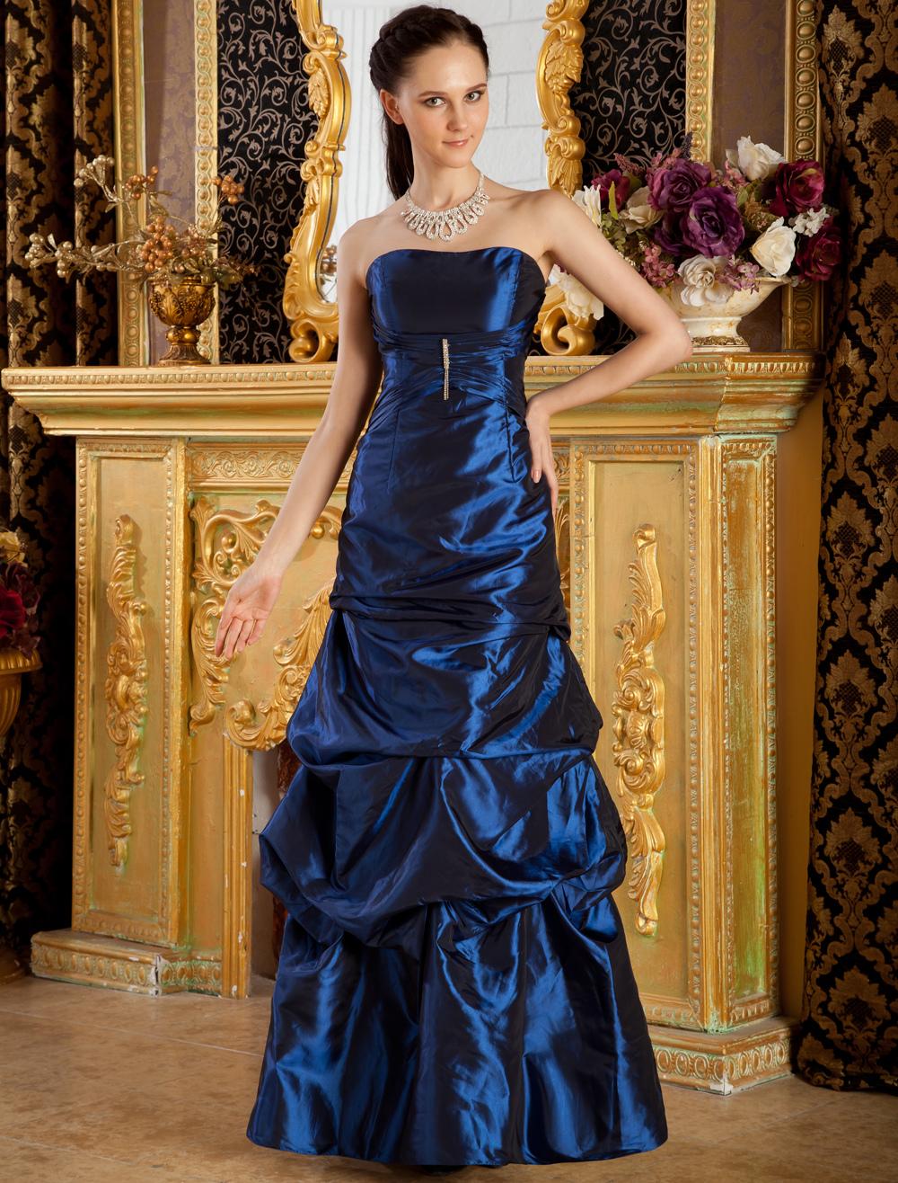 a90fc0bee412 Vestito da sera blu royal con gonna da pricipessa senza spalline a pieghe a  terra in taffettà - Milanoo.com