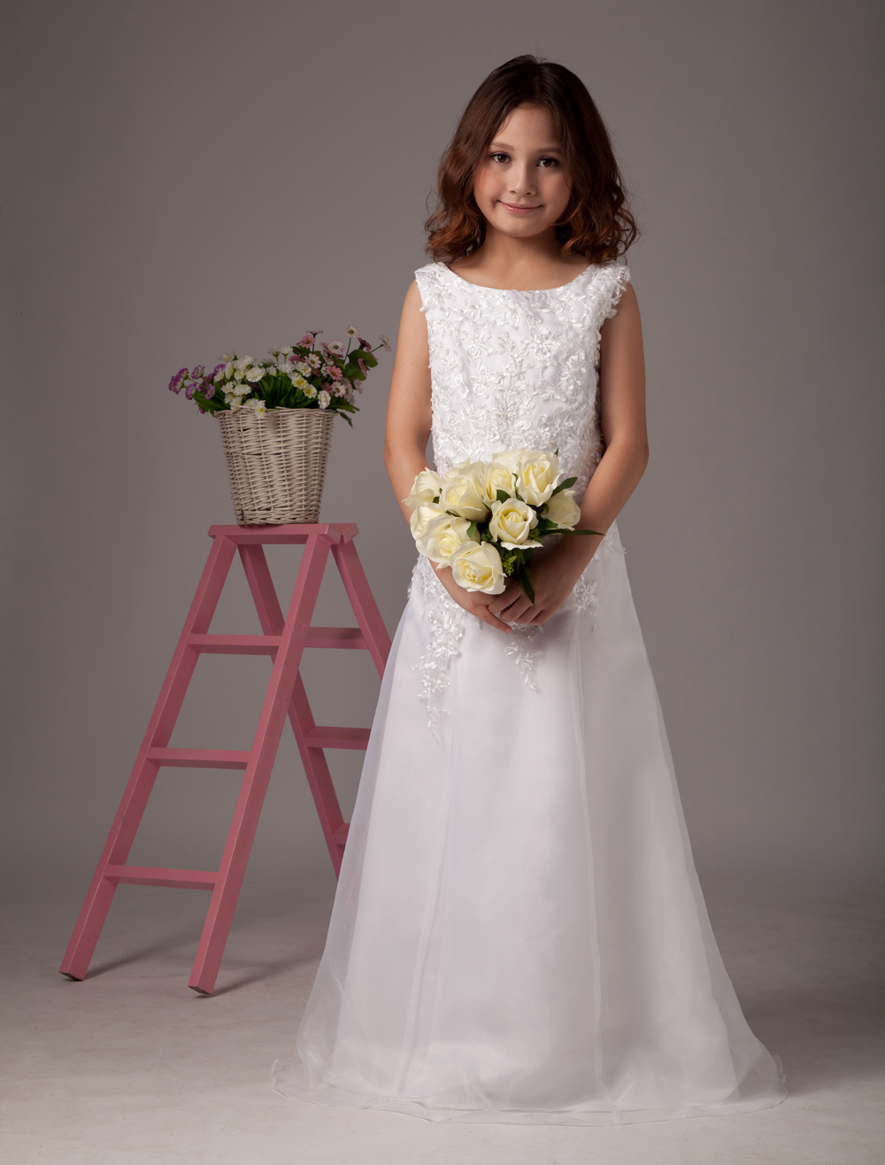 A-line Sleeveless Embroidery Satin Organza Flower Girl Dress