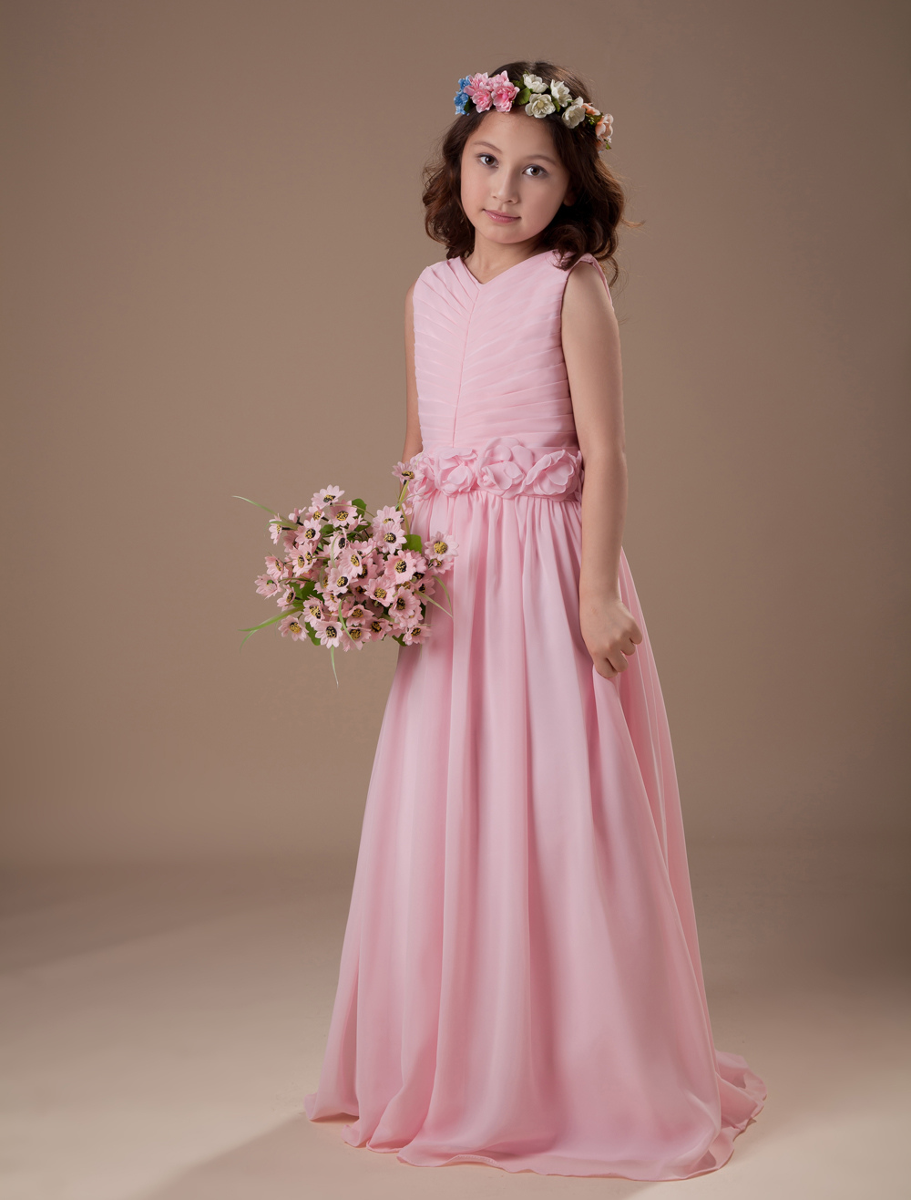Beautiful pink sleeveless v neck satin chiffon flower girl dress beautiful pink sleeveless v neck satin chiffon flower girl dress milanoo dhlflorist Gallery