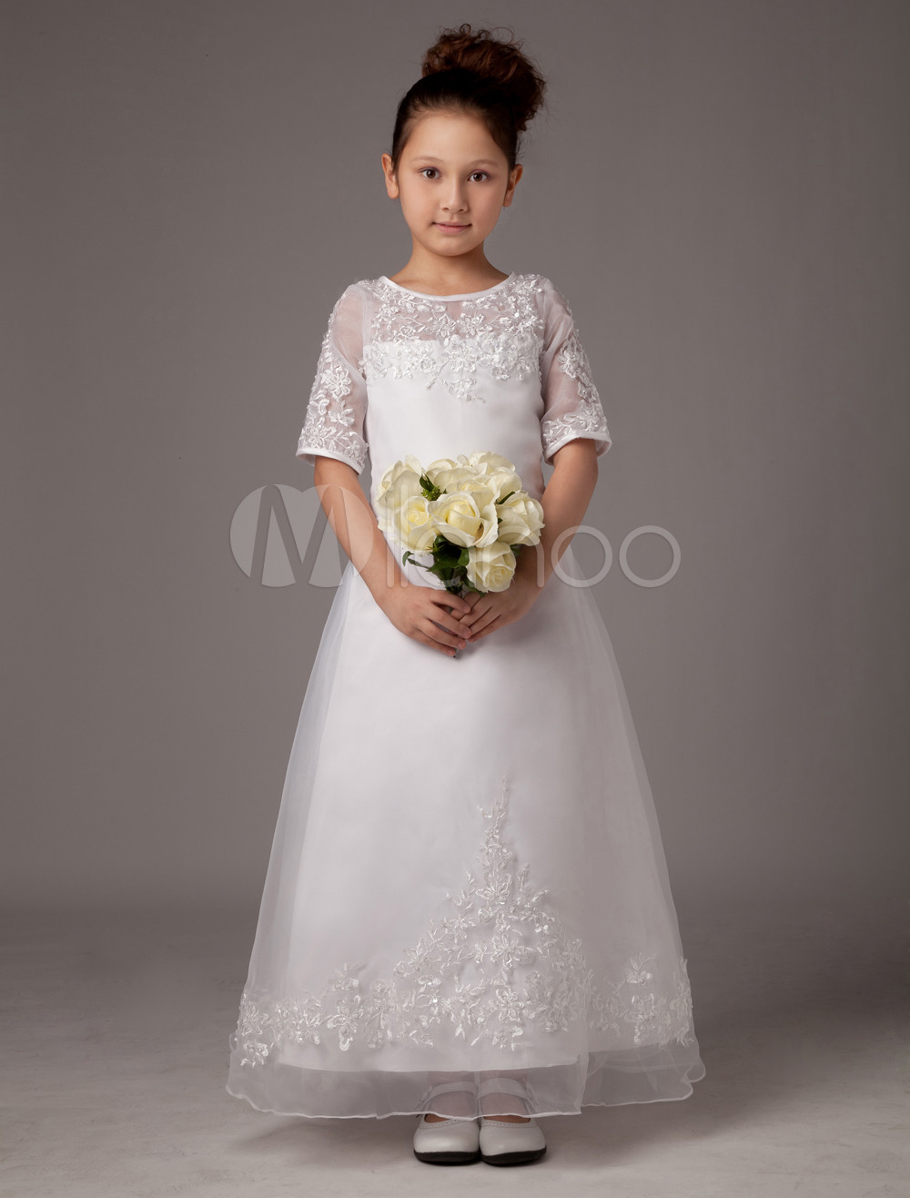 A-line White Jewel Neck Applique Ankle-Length First Communion Dress