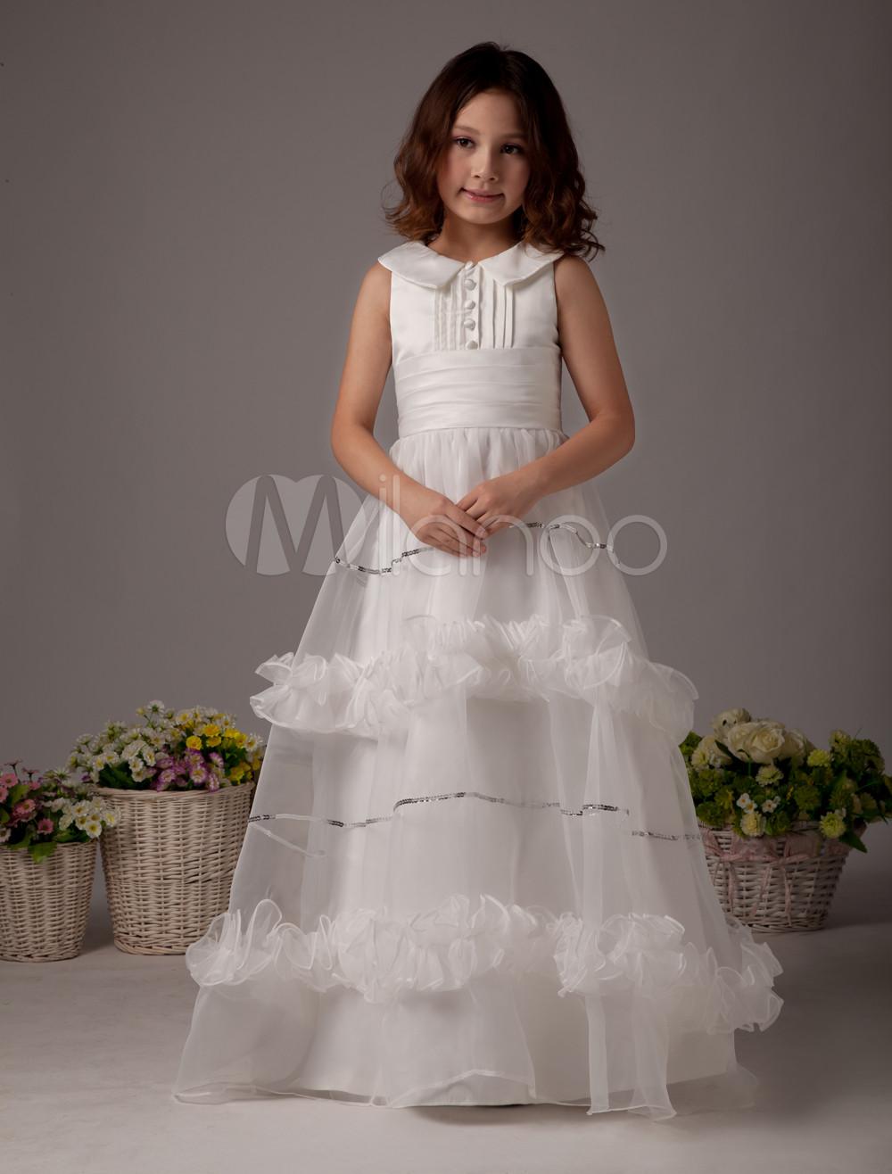 White Flower Girl Dress Boho Satin Sleeveless Long Dresses For Little Girls