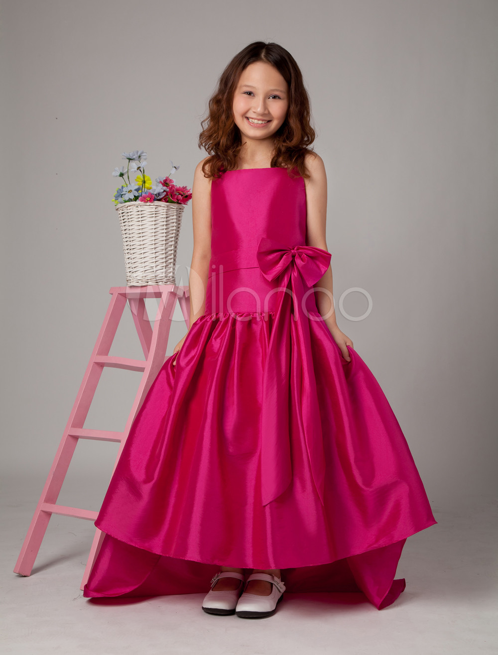 Flower Girl Dress Hot Pink Taffeta A Line Bow Toddler's Pageant Dress With Train