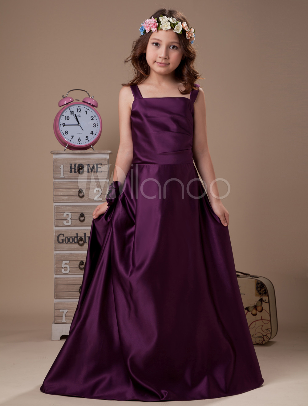 f4231261f Flower Girl Dresses Plum A Line Satin Straps Floor Length Junior Bridesmaid  Dress - Milanoo.com