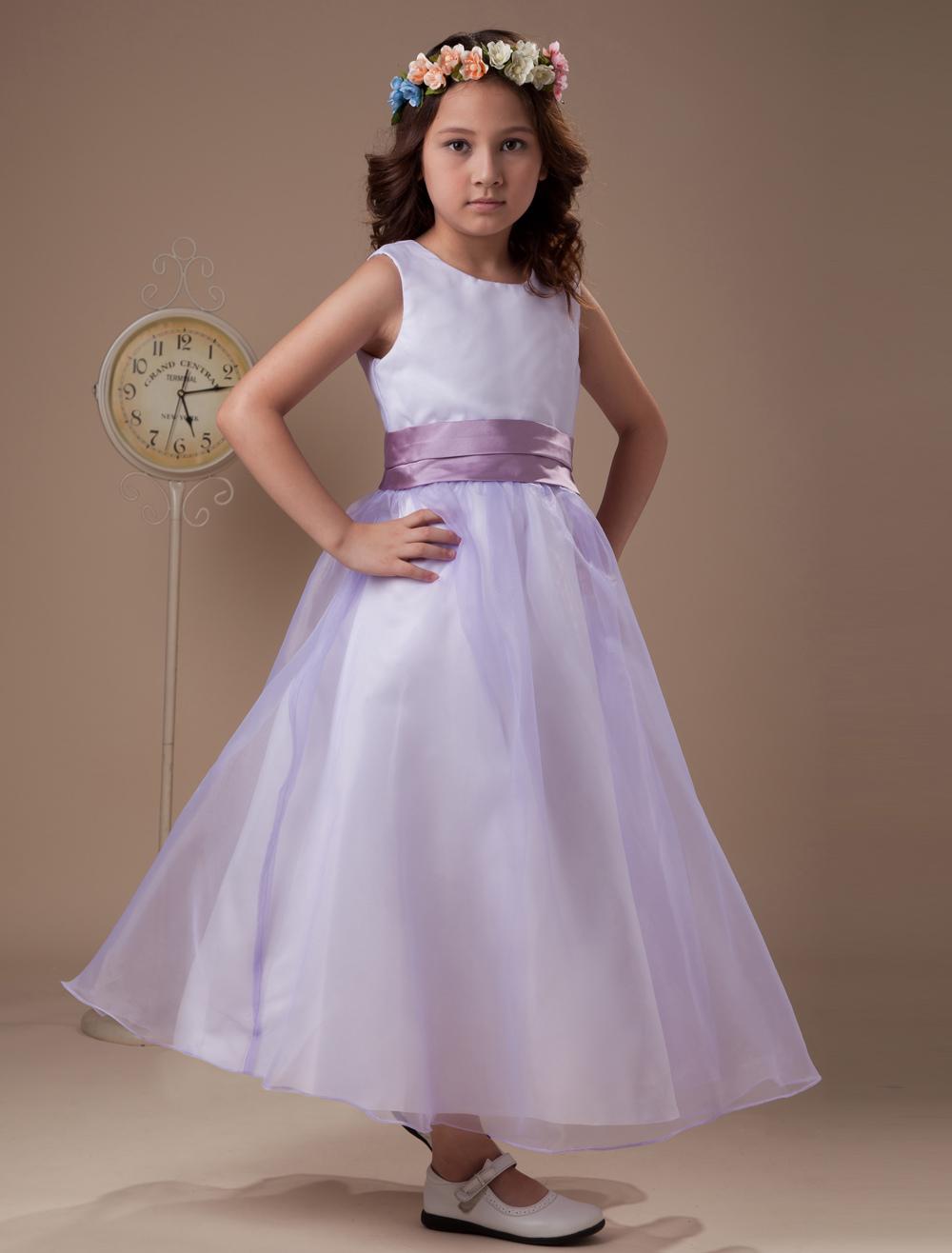 Lavender Sleeveless Sash Taffeta Organza Flower Girl Dress