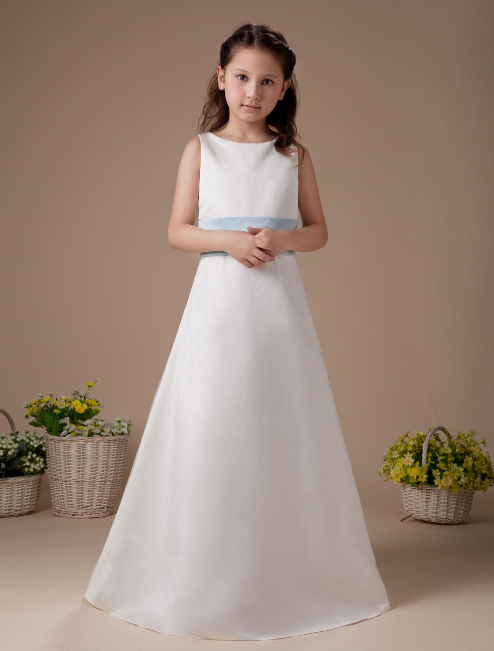 Buy Romantic White Satin Sash Bow Flower Girl Dress for $62.99 in Milanoo store