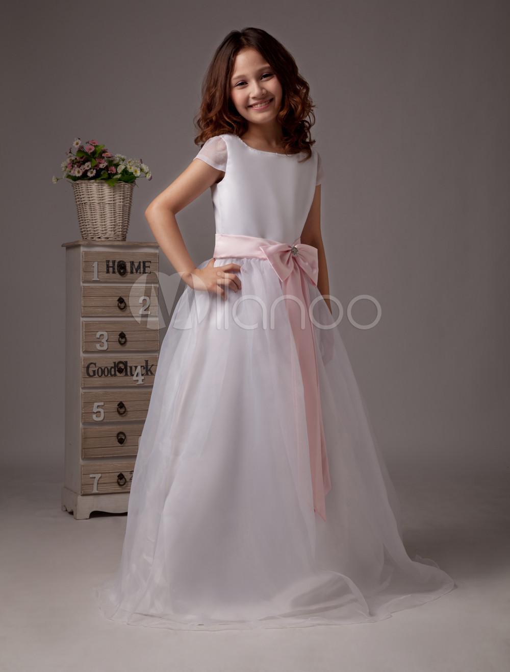 Short Sleeves Sash Bow Satin Flower Girl Dress