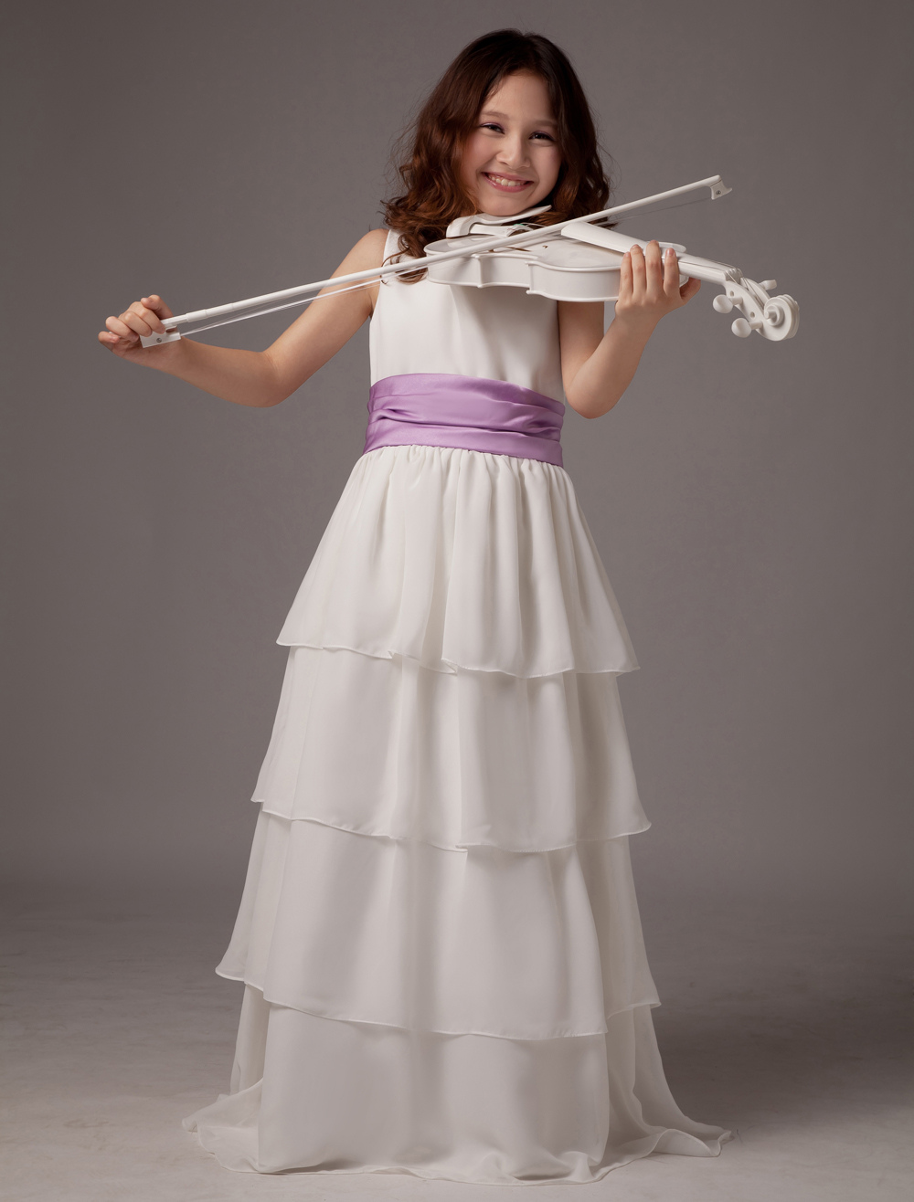 Flower Girl Dress Boho White Tiered Sleeveless Ribbon Sash Kids Maxi Dresses
