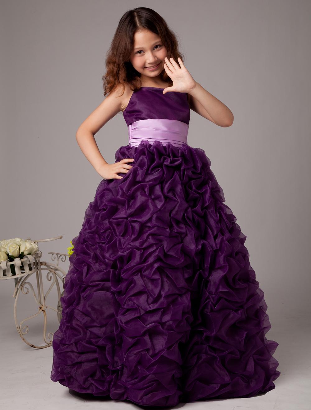 Grape Satin Organza Ball Gown Flower Girl Dress