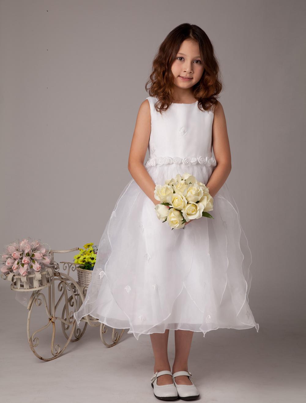 a2155bef8b7d Sweet White A-line Satin First Communion Dress - Milanoo.com