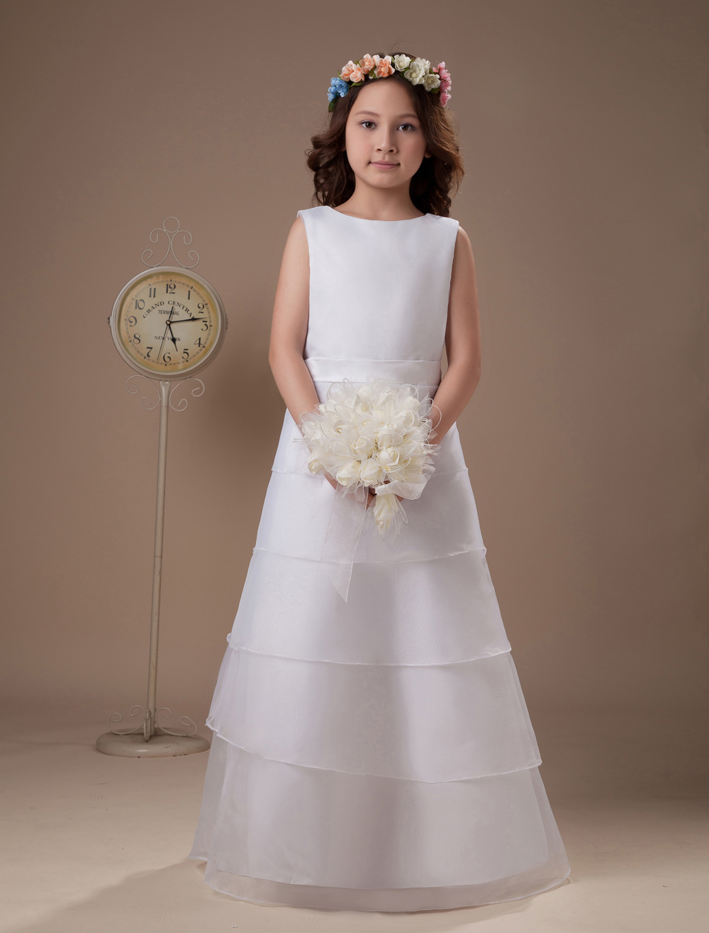 White A-line Multi-Layer Satin First Communion Dress