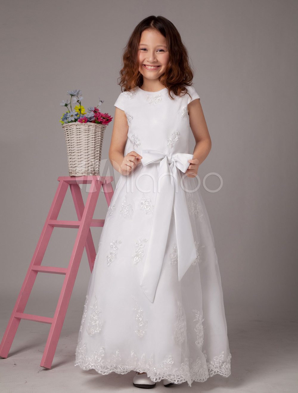White Flower Girl Dresses Jewel Neck Bow Ankle Length First Communion Dress