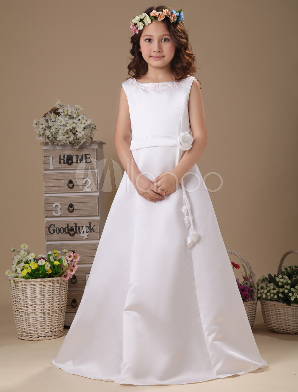 White Flower Waist A-line Satin First Communion Dress