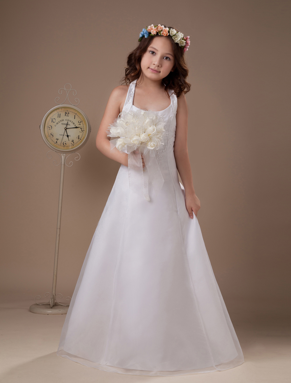 White Halter Satin Beading Flower Girl Dress