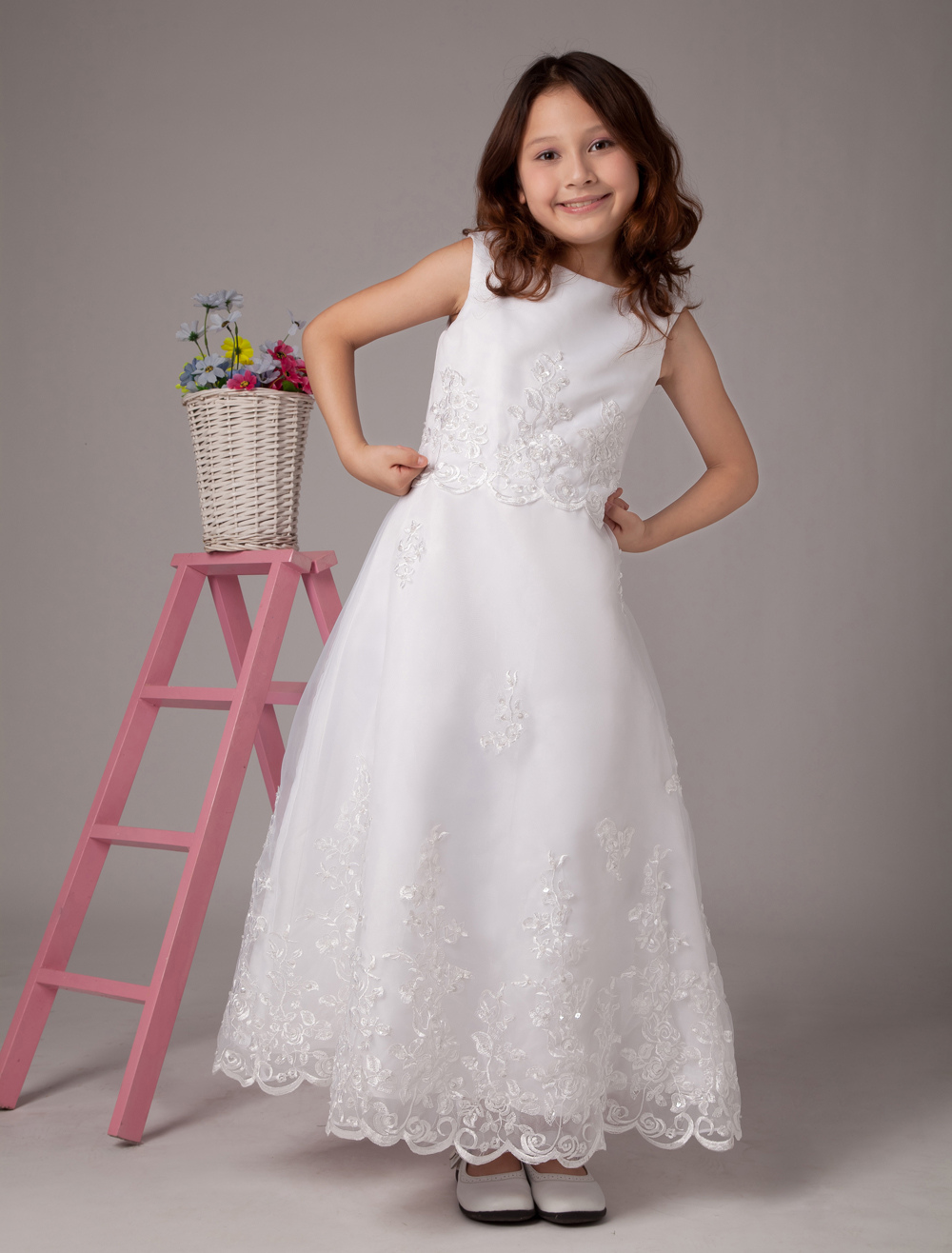 White Jewel Neck A-line Satin Cute Flower Girl Dress