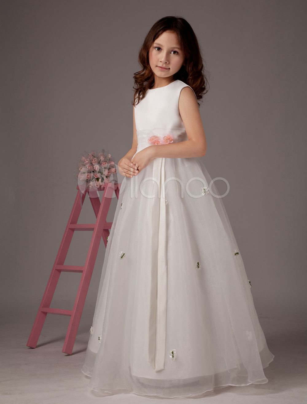 White Sleeveless Flower Decroration Satin Organza Flower Girl Dress