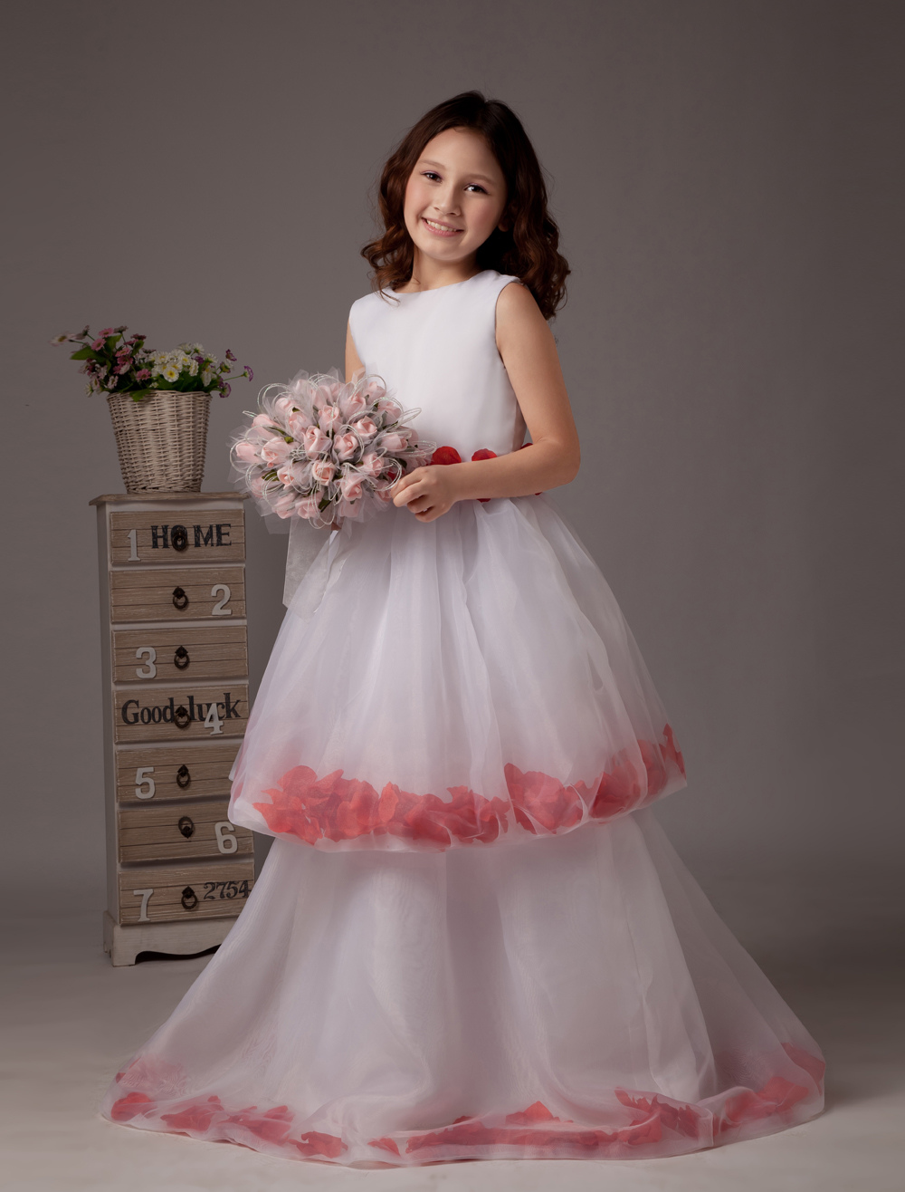 White Sleeveless Multi-layer Satin Flower Girl Dress