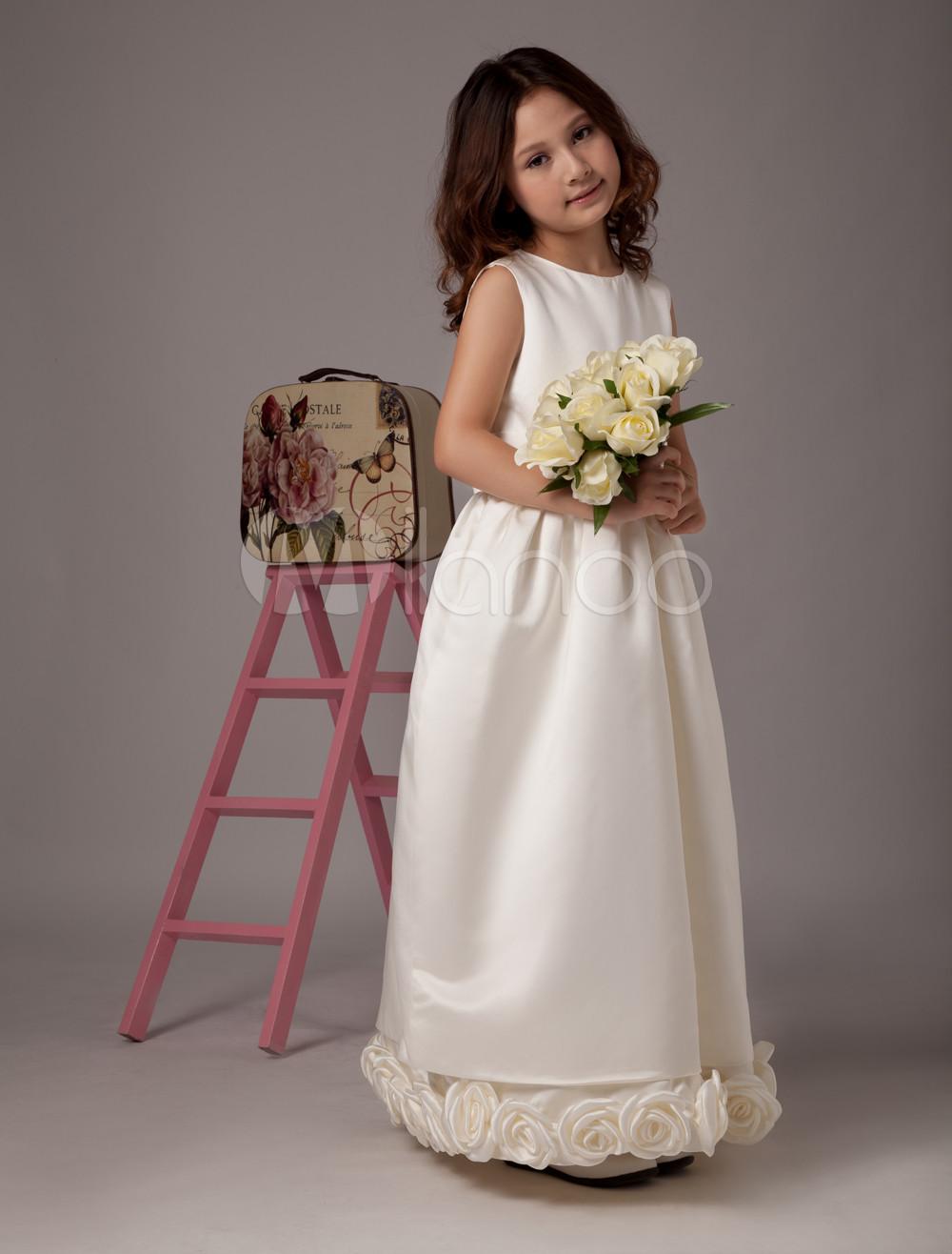 Buy Lovely Ivory Sleeveless Sash Satin Flower Girl Dress for $74.69 in Milanoo store
