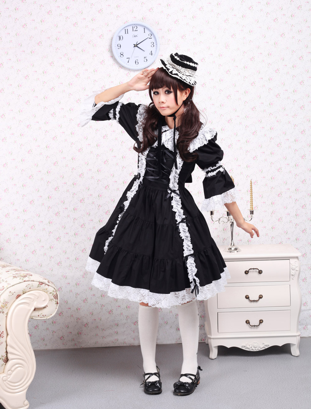 Buy Cotton Black Long Sleeves Classic Lolita Dress for $71.99 in Milanoo store