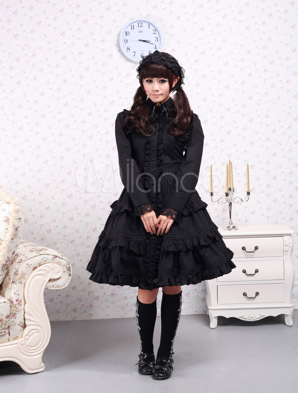 Buy Pure Black Cotton Lolita One-piece Dress Long Sleeves Ruffles Lace Trim for $79.99 in Milanoo store