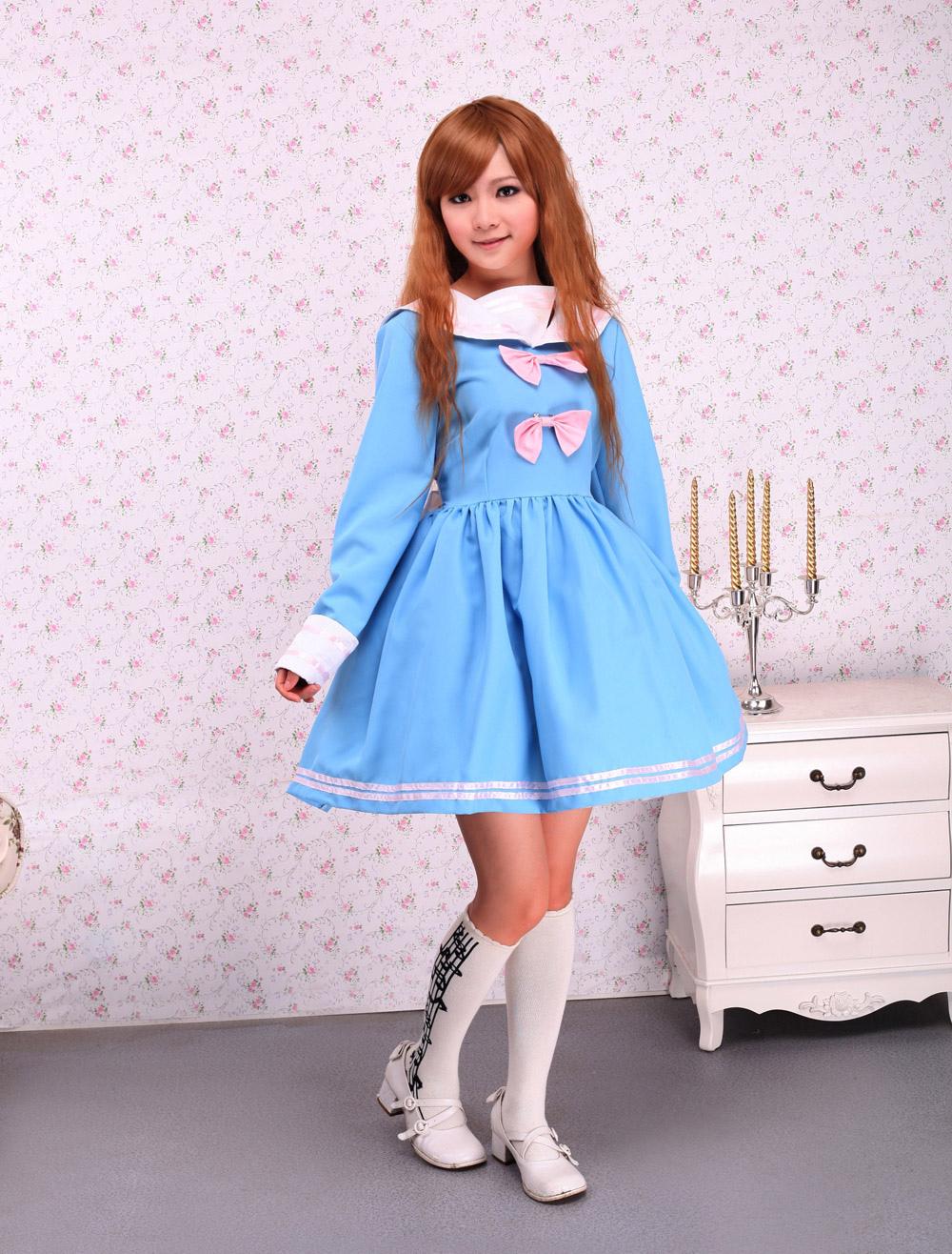 Cotton Blue Bow Long Sleeves School Lolita Dress