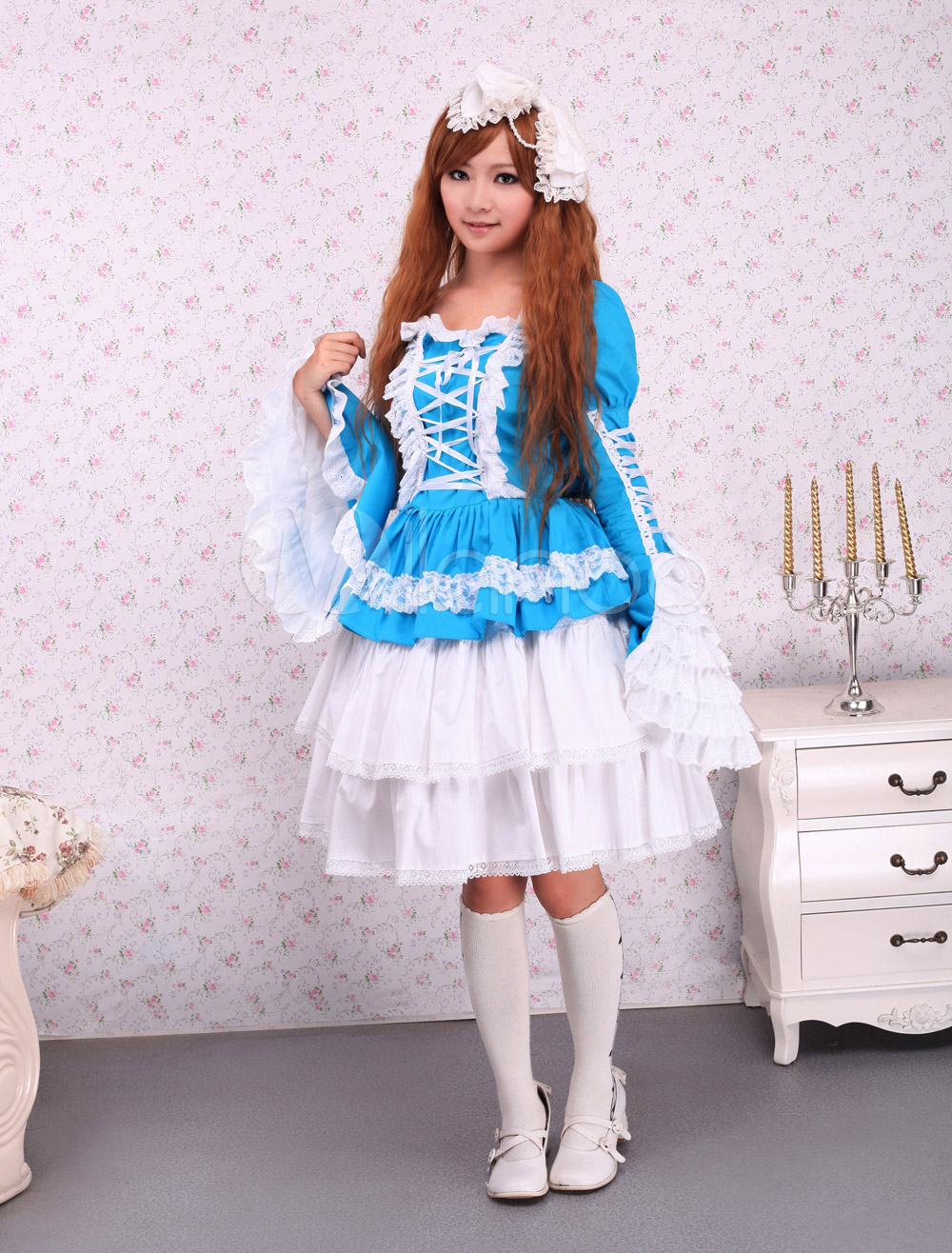 Cotton Blue Green Gothic Lolita Dress