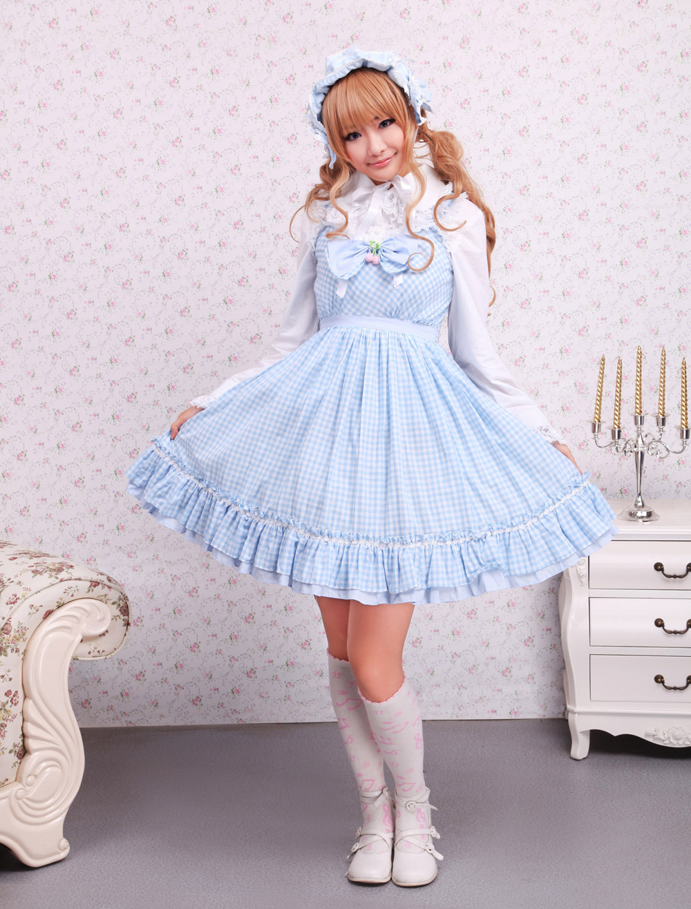 Buy Cotton Blue White Gingham Check School Lolita Dress for $71.99 in Milanoo store