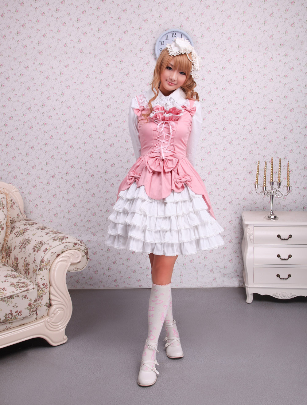 Buy Sweet Pink White Cotton Lolita Jumper Skirt Lace Up Layered Ruffles Bows for $71.99 in Milanoo store