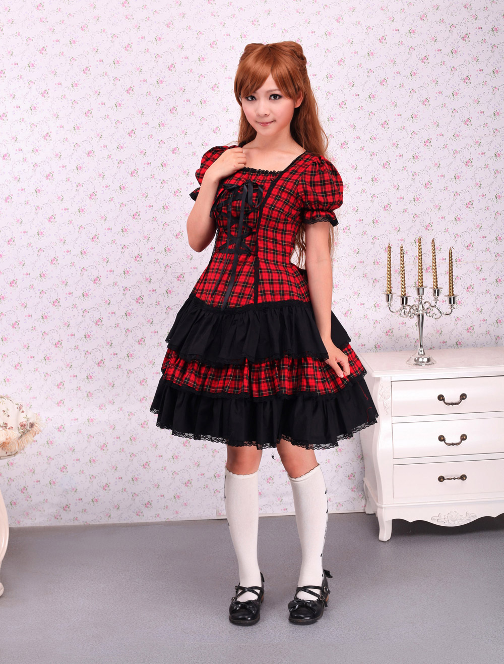 Buy Cotton Red Black Gingham Loltia OP Dress Short Sleeves Lace Up for $79.99 in Milanoo store