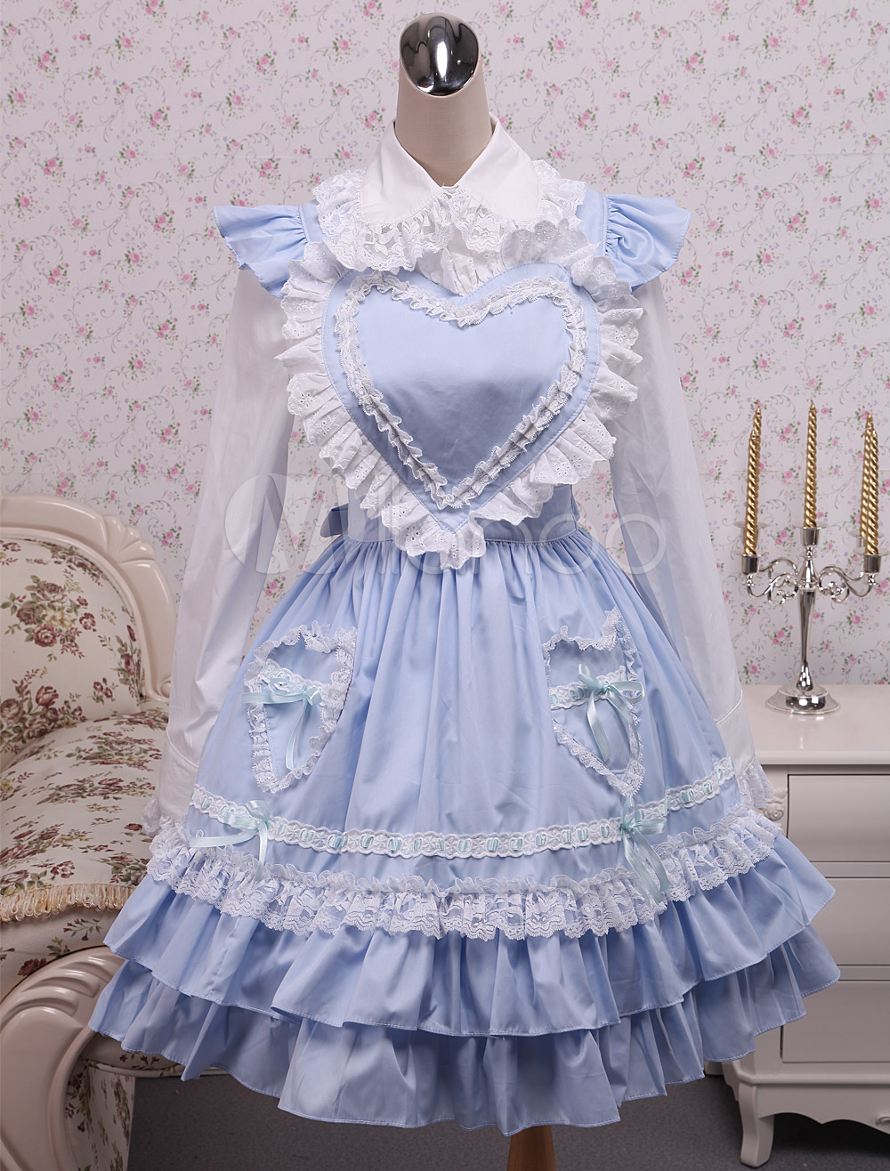 Buy Sweet Lolita Outfit Blue Cotton Heart Shaped Lolita Jumper Skirt With Shirt for $71.99 in Milanoo store