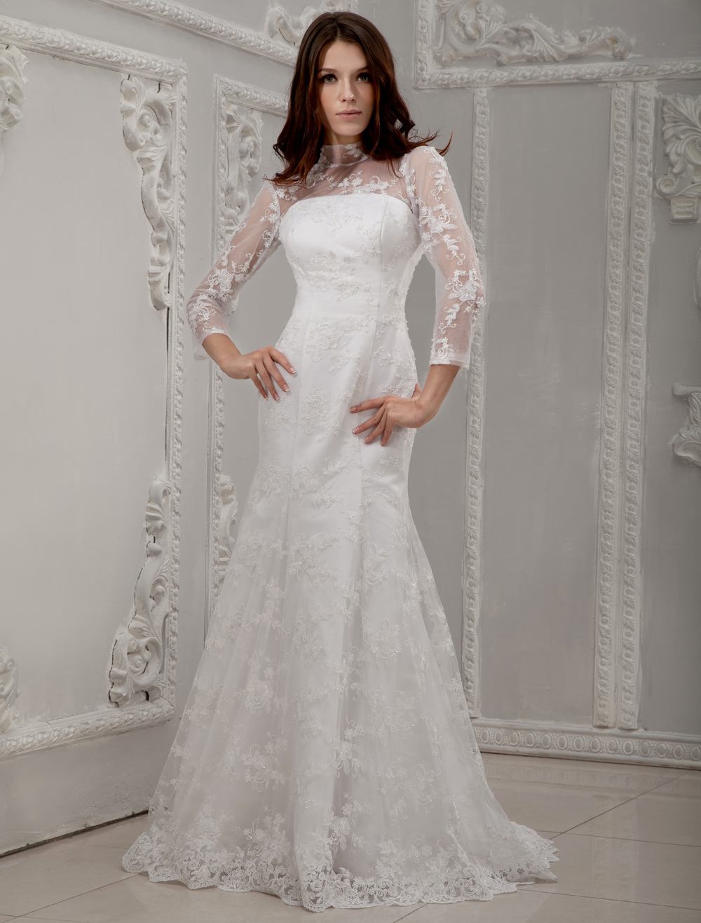 White long lace sleeves bridal wedding dress for Long sleeve white lace wedding dress