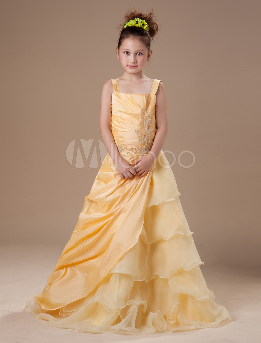 Ball Gown Floor-Length Daffodil Organza Girls Pageant Dress