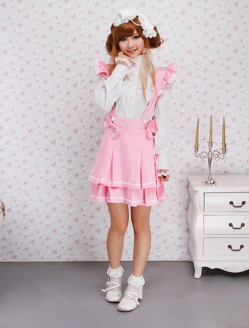 Pink Cotton Multi Layer Lolita Skirt